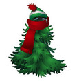 frozen from the frost tree in scarf and cap vector image vector image