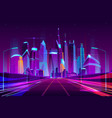 future metropolis highway neon cartoon vector image vector image