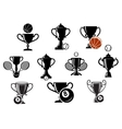 Isolated sporting trophy icons set vector image