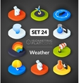 Isometric flat icons set 24 vector image vector image