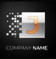 letter j logo symbol in the golden-silver square vector image vector image