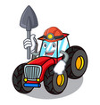 miner tractor mascot cartoon style vector image