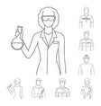 people of different professions outline icons in vector image