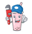 plumber raspberry bubble tea character cartoon vector image