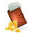 purse with coins vector image