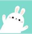 rabbit bunny head face in corner waving paw vector image vector image