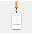 realistic plastic badge sample vector image vector image