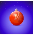 Red Christmas ball with snowflake over starry vector image vector image