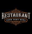 restaurant vintage lettering vector image vector image