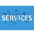 Services concept flat line design with icons and vector image