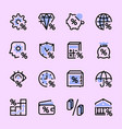set icons banks interest money vector image vector image