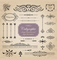 set of calligraphic and page decoration elements vector image