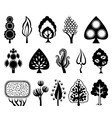 set of decorative graphic trees vector image vector image