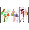 Shopping girl banner vector image vector image