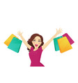 shopping woman looking up vector image vector image