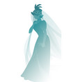 silhouette woman dressed in veils and ancient vector image vector image