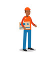 smiling delivery man standing and holding big vector image vector image