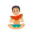 teenager eating watermelon summer fruit vector image vector image