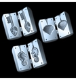 Three molds for casting of different shapes vector image vector image