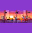 travelers in airport waiting room departure area vector image