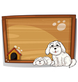 Two white dogs in front of a wooden board vector image