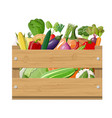 wooden box full of vegetables vector image vector image