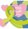 world mental health day green ribbon planet vector image vector image