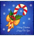 Christmas candy cane on a blue background vector image