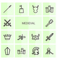 14 medieval icons vector image vector image