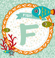 ABC animals F is fish Childrens english alphabet vector image