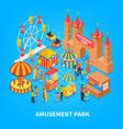 amusement park isometric background vector image vector image