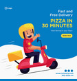 banner design of pizza in 30 minutes vector image