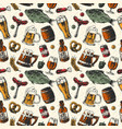 beer mug and food products seamless pattern vector image