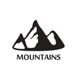 black logo of mountains isolated on white vector image