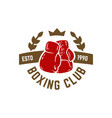 boxing club emblem with boxing hand drawn boxing vector image vector image