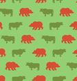 Bulls and bears seamless pattern Green Red Bull vector image