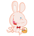 Bunny running with easter eggs in a basket vector image