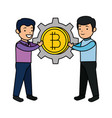 business people lifitng bitcoin vector image vector image