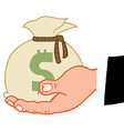 Bussines Hand Holding Money Bag vector image