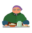 Cartoon old woman in purple hat vector image vector image