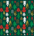christmas gold folk pine tree art seamless pattern vector image