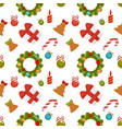 christmas seamless pattern with gift boxes and vector image