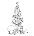Christmas tree icon Abstract sketch vector image vector image