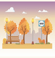 city park scene with lanterns and bus stop vector image