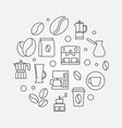 coffee shop round in thin line vector image