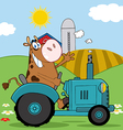 Cow Farmer Waving And Driving A Turquoise Tractor vector image vector image