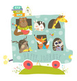 cute animals traveling by bus vector image vector image