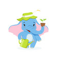 cute baby elephant gardener funny jungle animal vector image