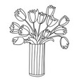 cute cartoon flowers in vertical striped vase vector image vector image