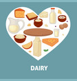 delicious dairy products from farm inside heart vector image vector image